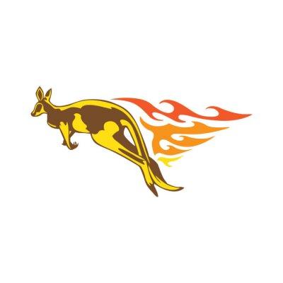 Sticker Elegante Känguruh-Flamme