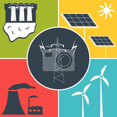 Elektrische energie flach symbole notebook-sticker • wandsticker ...