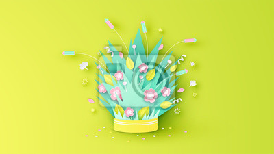 Elements of Spring decorate with firework, flower, leaves and petal float up from firework box. Graphic design for Spring festival. paper cut and craft style. vector, illustration.