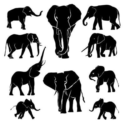 Sticker Elephant Silhouette Pack