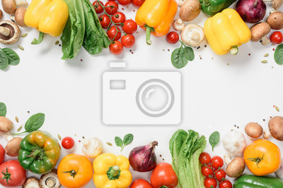Sticker elevated view of frame made of ripe vegetables isolated on white