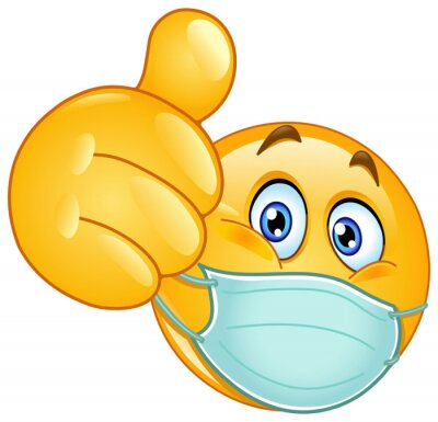 Sticker Emoji emoticon with medical mask over mouth showing thumb up