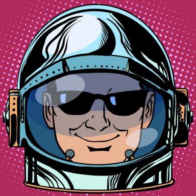 Sticker Emoticon Spion Emoji Gesicht Mann Astronaut retro