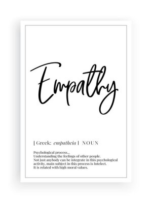 Empathy definition, Minimalist Wording Design, Wall Decor, Wall Decals Vector, Freedom noun description, Wordings Design, Lettering Design, Art Decor, Poster Design isolated on white backgroun
