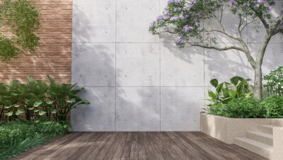 Sticker Empty exterior concrete wall with tropical style garden 3d render,decorate with tropical style tree ,sunlight on the wall