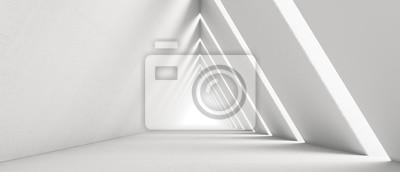 Sticker Empty Long Light Corridor. Modern white background. Futuristic Sci-Fi Triangle Tunnel. 3D Rendering