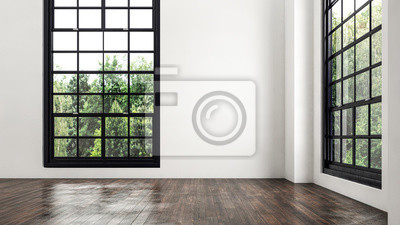 Sticker Empty room corner view with large windows