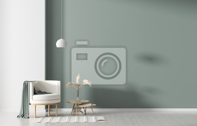 Sticker Empty wall in Scandinavian style interior with armchair. Minimalist interior design. 3D illustration.