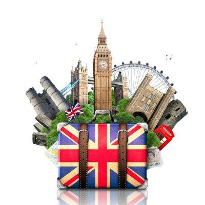Sticker England, Britische Sehenswürdigkeiten, Reise-und Retro-Koffer