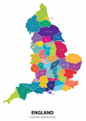 Sticker England Map with Regions