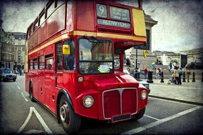 Sticker Englisch roten Bus auf den Straßen von London
