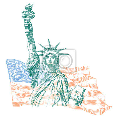 Engraving style illustration of Statue of Liberty with United States flag on background, vector, layered.