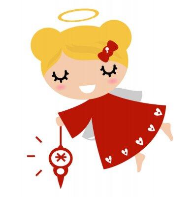 Sticker Entzückender Engel Mädchen mit Weihnachtsdekoration (rot)