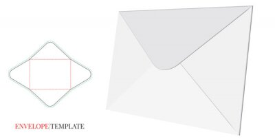 Envelope Template with die line, Vector Envelope Design, isolated on white background