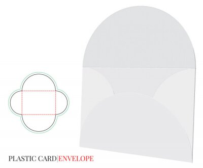 Envelope Template with die line, Vector with die cut / laser cut layers. Plastic Card Envelope Template, white, clear, blank, isolated on white background. Packaging Design