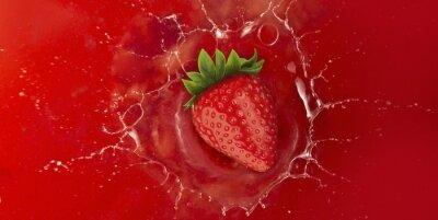 Sticker Erdbeer-Spritzer in rote Saft Flüssigkeit