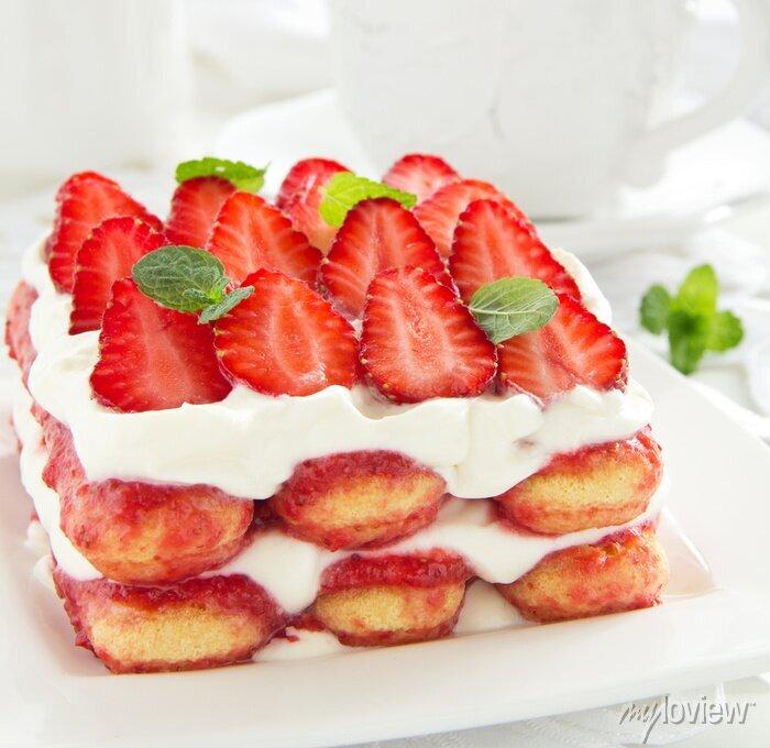 Sticker Erdbeer-Tiramisu mit Mascarpone.