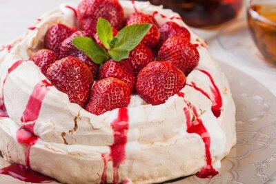 Sticker Erdbeere pavlova Kuchen