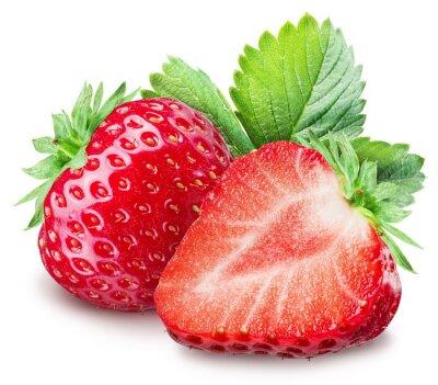 Sticker Erdbeeren auf dem weißen Hintergrund.