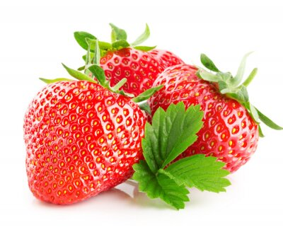 Sticker Erdbeeren auf dem weißen Hintergrund isoliert