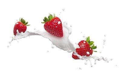 Sticker Erdbeeren mit Milch spritzen