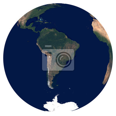 Erde aus dem Weltraum. Großes Satellitenbild von Planet Erde. Foto der Kugel. Lokalisierte körperliche Karte von Südamerika (Brasilien, Kolumbien, Argentinien, Peru, Chile). Elemente dieses Bildes von