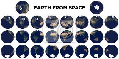 Erde aus dem Weltraum. Realistisches Foto der Erde von oben. Textur der Erde.