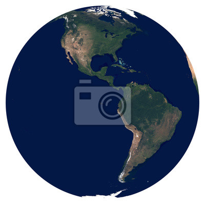 Erde aus dem Weltraum. Satellitenbild von Planet Erde. Foto der Kugel. Isolierte physikalische Karte der westlichen Hemisphäre (Nordamerika und Südamerika). Elemente dieses Bildes von der NASA eingeri