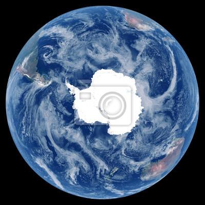 Erde aus dem Weltraum. Satellitenbild von Planet Erde. Foto der Kugel. Isolierte physische Karte der südlichen Hemisphäre (Antarktis, South Pole). Elemente dieses Bildes von der NASA eingerichtet.