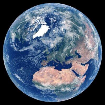 Erde aus dem Weltraum. Satellitenbild von Planet Erde. Foto der Kugel. Isolierte physische Karte von Europa (EU: Deutschland, Frankreich, Italien, Vereinigtes Königreich (UK), Polen). Elemente dieses