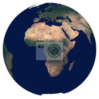 Erde aus dem Weltraum. Satellitenbild von Planet Erde. Foto der Kugel. Lokalisierte körperliche Karte von Afrika (Nigeria, Ägypten, Südafrika, Algerien, Marokko, Angola). Elemente dieses Bildes von de