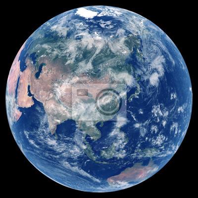 Erde aus dem Weltraum. Satellitenbild von Planet Erde. Foto der Kugel. Lokalisierte körperliche Karte von Asien (China, Japan, Indien, Russland, Korea, Saudi-Arabien, der Iran). Elemente dieses Bildes