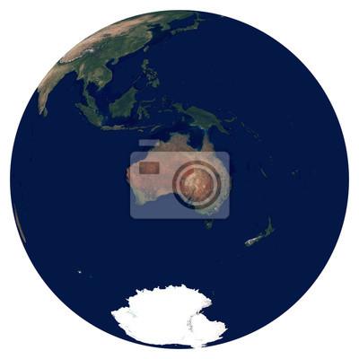 Erde aus dem Weltraum. Satellitenbild von Planet Erde. Foto der Kugel. Lokalisierte körperliche Karte von Australien und von Ozeanien (Australien, Neuseeland, Pazifikinseln). Elemente dieses Bildes vo