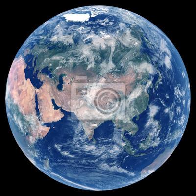 Erde aus dem Weltraum. Satellitenbild von Planet Erde. Foto der Kugel. Lokalisierte körperliche Karte von Eurasien (China, Russland, Indien, die Türkei, Japan, Indonesien, Deutschland). Elemente diese