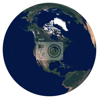 Erde aus dem Weltraum. Satellitenbild von Planet Erde. Foto der Kugel. Lokalisierte körperliche Karte von Nordamerika (Vereinigte Staaten (USA), Mexiko, Kanada, Guatemala). Elemente dieses Bildes von