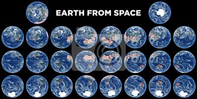 Erde aus dem Weltraum. Satz Satellitenbilder von Planet Erde. Realistisches Foto der Erde von oben. Weltraumansichten von Hemisphären. Textur der Erde. Elemente dieses Bildes von der NASA eingerichtet