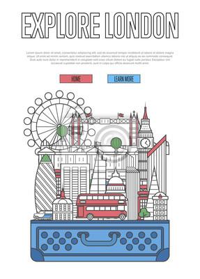 Erforschen Sie London-Plakat mit berühmten Architekturattraktionen im geöffneten Koffer. Weltweites Reisen und Zeit, Vektorkonzept in der linearen Art zu reisen. London nationale Sehenswürdigkeiten, T