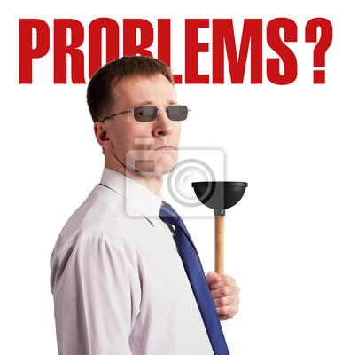 Ernster fester Mann in einer Bindung und in den Gläsern mit einem Kolben in seinen Händen und in den Aufschriften Problemen. Charakter