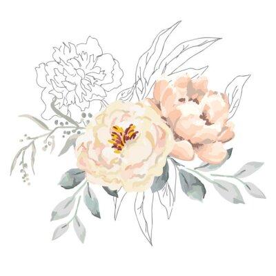 Sticker Erröten Sie cremige Pfingstrosenblüten und graue Blätter mit grafischen Elementen.  Vektorillustration auf dem weißen Hintergrund.  Blumenstrauß.  Design-Grußkarte.  Einladungshintergrund.  Botanische