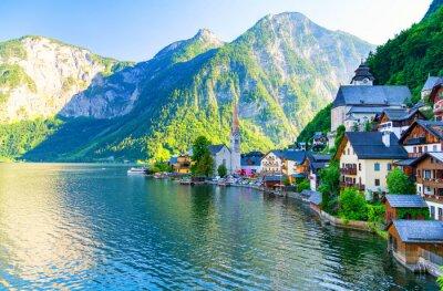 Sticker Erstaunlich kleines alpines Dorf Hallstatt, Österreich