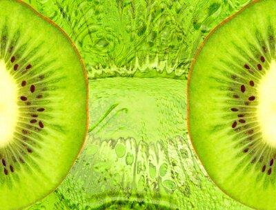 Sticker Essen Hintergrund mit grünen Kiwi-Scheiben.