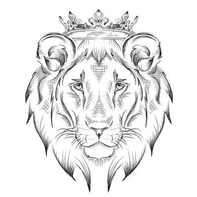 Sticker Ethnische Handzeichnung Kopf der Löwe trägt eine Krone. Totem / Tätowierungentwurf. Gebrauch für Druck, Plakate, T-Shirts. Abbildung