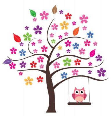 Sticker Eule im Baum