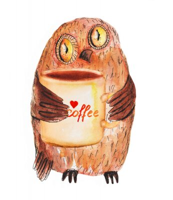 Sticker Eule mit Tasse Kaffee. Aquarell Handzeichnung