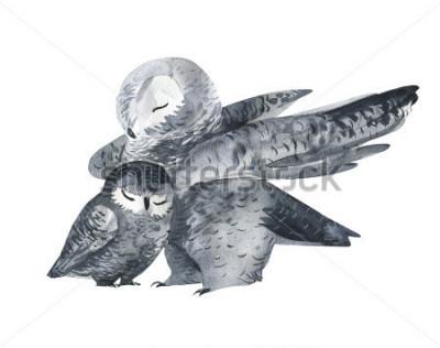 Sticker Eule und eine Baby-Aquarell-Technik. Waldtiere. Handgemalte realistische Illustration isoliert auf weißem Hintergrund. Muttertagskarte handgemacht.
