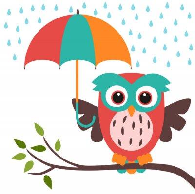 Sticker Eule und Schirm regen