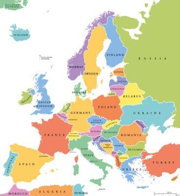 Sticker Europa einzigen Staaten politische Karte. Alle Länder in verschiedenen Farben, mit nationalen Grenzen und Ländernamen. Englisch Beschriftung und Skalierung. Illustration auf weißem Hintergrund.