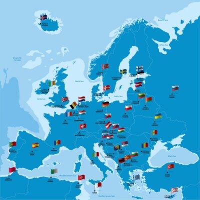 Länder Europas Karte.Sticker Europa Karte Mit Ländern Hauptstädten Und Flaggen