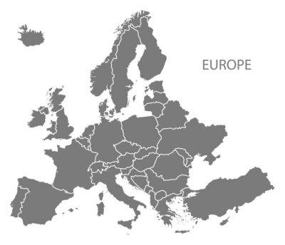 Sticker Europa mit Ländern Karte grau