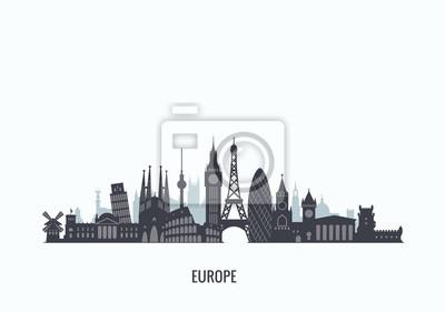Europa Skyline Silhouette.